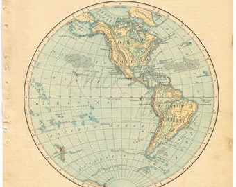 Antique WORLD Map - 1885 WESTERN Hemisphere - Digital Download - Buy 2 Digital Downloads/Get 1 FREE