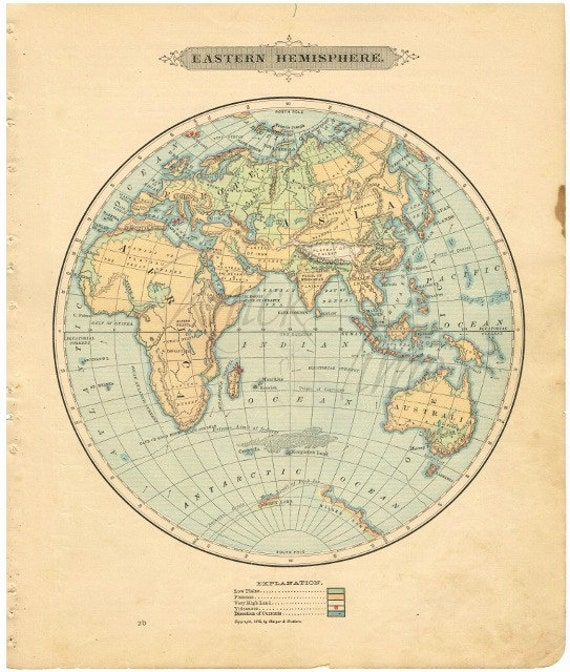 Eastern Hemisphere Map With Names Antique WORLD M...