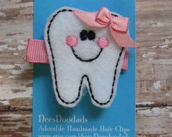 Happy Tooth Felt Clippie - Pink - White  - Hair Clip - Party Favor