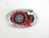 Red Kangaroo Mixed Tin Brooch- Red and Black Tin - eaststreettins
