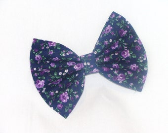 Hair Bow Vintage Inspired 1920s Purple Flowers Hair Bow Clip Rockabilly Pin up Teen Woman Alligator Clip, French Barrette
