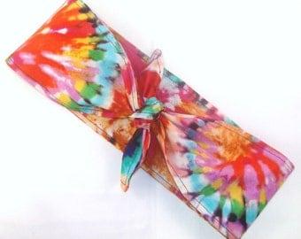 Headscarf, Tie Dyed 70s 60s Hippie Boho Retro Rockabilly Pin Up Headscarf Headband Bandanna