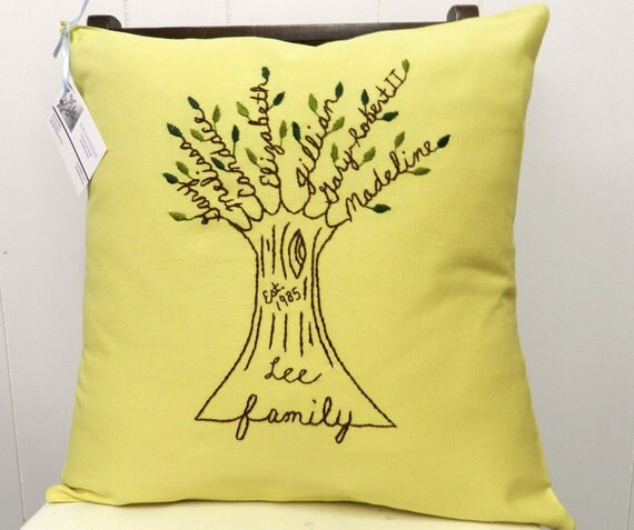 Last Name and Year. Personalized Family Tree Pillow Cover. Gift for Parents of Groom or Bride. Wedding Anniversary. Mom Birthday Gift.