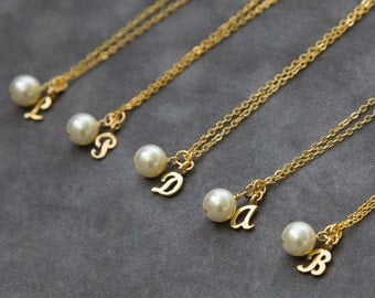 Bridesmaids Necklace, Gift Set of 6, Custom Letter Jewelry, Pearl Solitaire, Gold Fill, Personalized Initial Pearl Necklaces