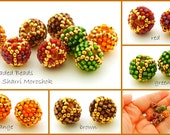 Earring Pairs handmade 8mm beaded beads - autumn holiday red green gold brown orange