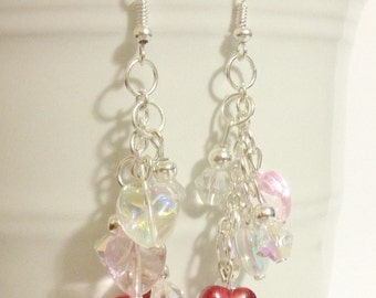 "Earrings - Hearts - Red Pink and Clear Hearts - Crystal Glass Beads ""Falling for You"""