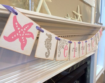 Girl Beach Banner Personalized With Your Childs Name/ Seahorse Starfish Banner/ Girl Baby Shower Banner / Girls Beach Room Decor