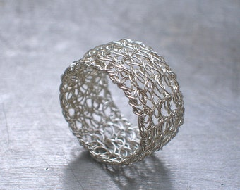 Sterling Silver Band Ring, Wire Crochet Ring