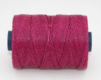Waxed Irish Linen Thread Magenta 7 Ply Waxed Thread