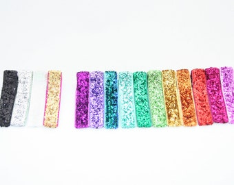 Lined Alligator Hair Clips SPARKLE COLLECTION Set of 15 assortment of rainbow colors