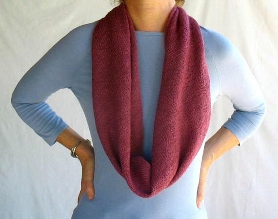 knit alpaca wrap scarf cowl hood in magenta pink