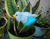 Felt Plush Stuffed Animal/ Pin Cushion- Light Blue & Teal