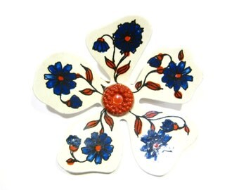 1960s Vintage Mid Century West German Folk Art Flower Pin Brooch