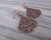 Antique Copper Earrings- Lace/Filigree Style Teardrop Earrings