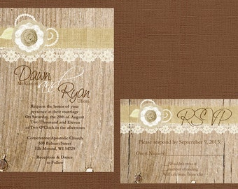 Rustic Wedding Invitation, Lace and Burlap Wedding Invitation, Country Wedding Invitation, Vintage Wedding Invitation, Custom