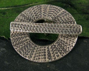 Extra Large Toggle Clasp Set - Round Textured Fine Silver Toggle Handcrafted by Karen Hill Tribe 28mm T93