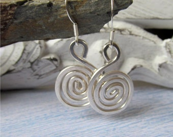 Sterling Silver Spiral Earrings, Hammered Silver Earrings, Wirewrapped Earrings