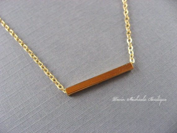 Tiny Gold Bar Necklace, Gold Pendant, Choker