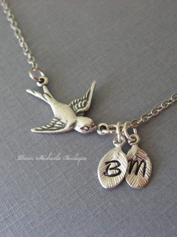Personalized Mothers Day Necklace Silver Bird Necklace Bird