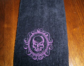 Skull Cameo Embroidered Bathroom Hand Towel