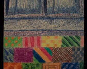 """Original ACEO ~ """"My Comfy Quilt"""" ~ 2006 ~ Colored Pencil ~ OOAK"""