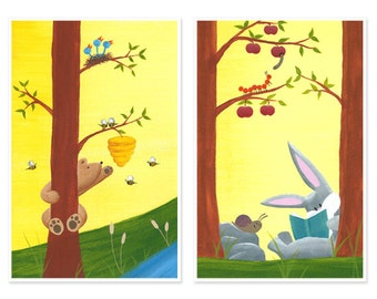 11x17 SET OF 2 - Bunny and Bear - Forest Friends Large Print Set