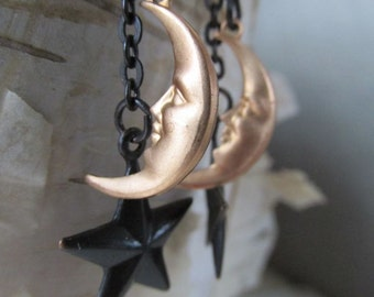 The Moon and The Stars - Long Dangle Earrings - Black and Gold - Hand Blackened Brass