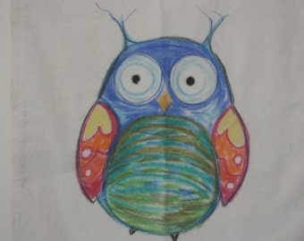 Folk Owl - Cotton Tote Bag. Hand painted & stitched.