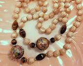 Vintage MOP Tigers Eye Cloisonne Bead Necklace