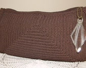1940s Vintage Brown Crocheted Corde Clutch Purse Lucite Pull
