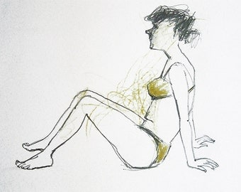 Sun Bathing woman original drawing people figurative art sketch