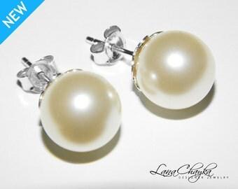 Pearl Stud Earrings 925 STERLING SILVER 10mm Ivory Pearl Bridal Earrings Swarovski Pearl Wedding Earring Bridal Pearl Stud Earrings