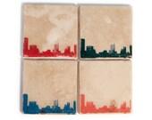 Austin Skyline Coaster Set (4 Stone Coasters, Orange, Green, Blue, & Red) Cityscape Home Decor