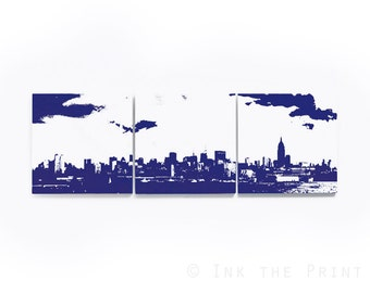 New York Skyline Triptych (White and Navy Blue) 3 x 1 Foot City Skyline Screenprint/Painting Large Wall Art