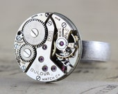 Watch Ring Steampunk Ring Silver Unique Ring Statement Ring Jewelry Unisex Steam Punk Adjustable Bulova Steam Punk Gift 6 7 8 9 10 11 12