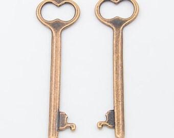 Skeleton Key Pendants Vintage Style Antiqued Copper 53mm Steampunk Skeleton Keys
