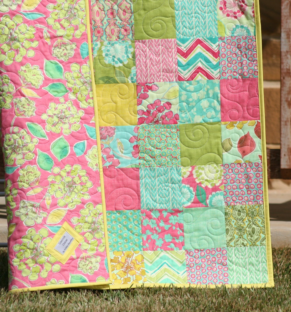 Spring House Baby Girl Quilt Pink Green Teal Aqua Yellow
