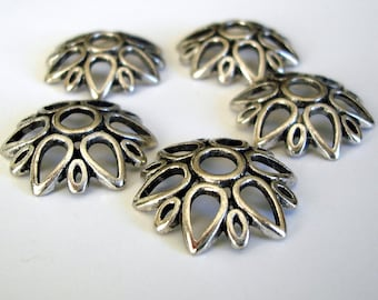 8-Large Antiqued Silver Flower Bead Cap 24mm.