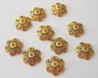 50-Antiqued Gold Flower Bead Cap 12mm.