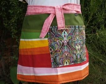 Half apron color spectrum, rainbow of bright colors, heavy canvas, large paisley pocket