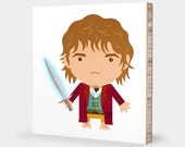 H for Hobbit or B for Bilbo : ABC Block Bamboo Wall Art Series // Alphabet Kids Baby Nursery Room Decor LoTR