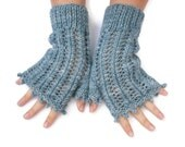 Blue organic merino Wool Fingerless lace gloves / mittens hand knitted with picot edging