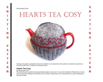 Knitting Pattern , wool tea cosy with hearts -  Digital PDF file , hand knitted , tutorial ,instant download, diy , valentine knit