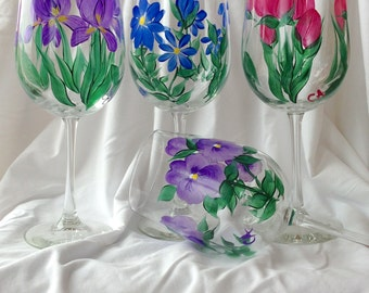 Hand-painted Wine Glasses - floral - made to order