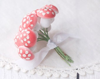 Spun Cotton Mushrooms - Blush Pink, 3/4 Inch Tall, Made in Germany