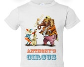Children Baby Toddler Boy PERSONALIZED T-shirt Onesie -Circus Curiosities, Vintage Circus, Clown, Elephant