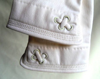 Gloves White Faux Leatherette Size L Vintage 60's