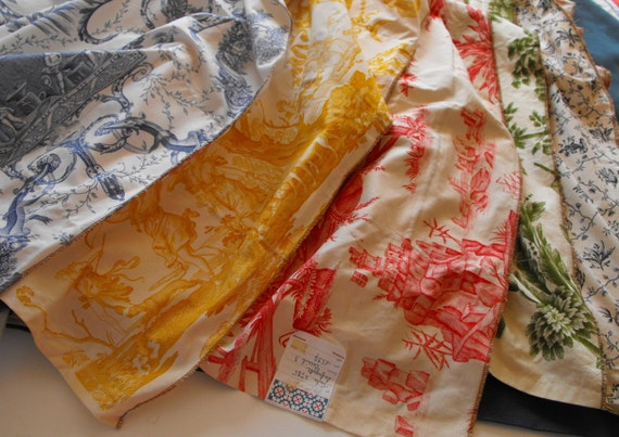 RESERVED FOR KATE French Toile de Jouy Fabric Sample High Quality