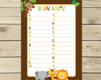 Safari Animals Baby Shower Printable ABC Game - Instant Download