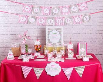 Girl Alligator Birthday Decorations - Argyle Birthday Party  Printable - Instant Download - Pink Green Birthday Party - Golf Birthday Party